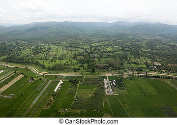 Ariel view of rice field and mountain,Chiangmai,Thailand