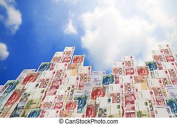 Wealth of China,China,Macao and hong kong money bills in...