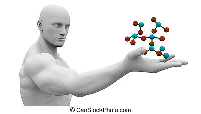 Man Observing Molecule Structure - Man Observing and...