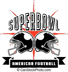 Superbowl And Football Badge Hand - Vector illustration of...