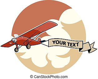 Classic Airplane2 Dragging Ribbon - vector illustration of...