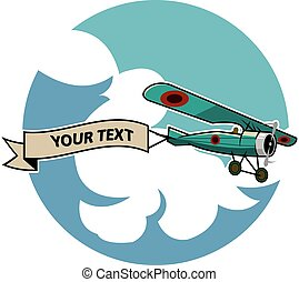 Classic Airplane Dragging Ribbon - vector illustration of...