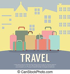 Travel Concept - Many Luggage In Front Of Building Travel...