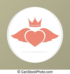 Heart Wing With Crown.
