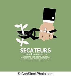 Secateurs Gardening Tool - Secateurs Gardening Tool Vector...