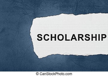 scholarship with white paper tears on blue texture