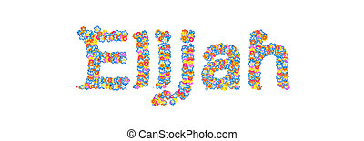 Male name Elijah filled with flowers - Male name filled with...