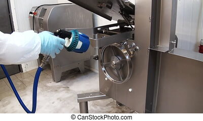 Cleaning the detergent residues of meat Cleaning of premises...