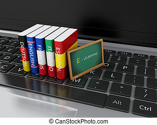 3d Dictionaries and blackboard on computer keyboard. E-learning