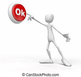 person push button ok - Communication concept