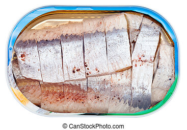 canned marinated herring in brine isolated - above view of...