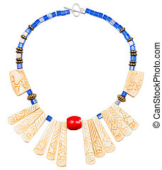 necklace from carved bone and blue glass beads - handmade...