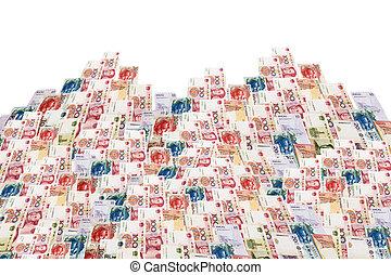 China, Macao and hong kong money bills in building...