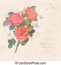 vintage invitation card with bouquet of roses with butterflies f