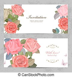 vintage invitation cards with lovely roses with love for your de