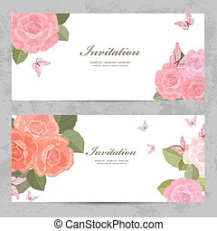 invitation cards with a blossom roses for your design