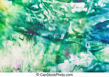 abstract hand painted green and blue nodular batik - textile...