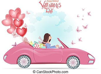 fashion young woman in a car with gifts and red balloons. happy