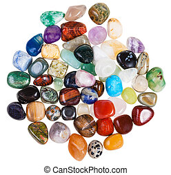 top view of various gemstones on white background