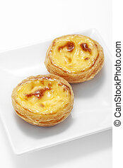 Egg tart on plate,close up