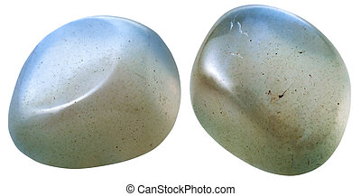 two Moonstone adularia, adular gemstones - natural mineral...