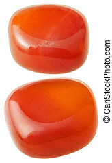 two carnelian cornelian, sard gemstones - natural mineral...