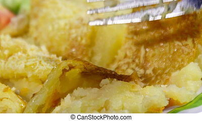 closeup shepherds pie with fork on - closeup shepherds pie...