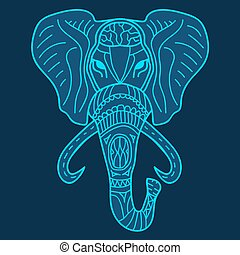 Ethnic patterned head of elephant blue