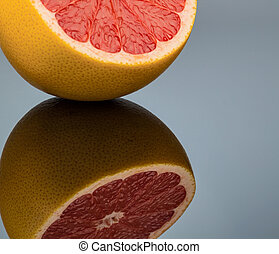reflection of an orange. symbolic photo for healthy vitamins...