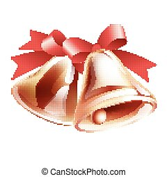 School bells with red ribbon on white background Halftone...