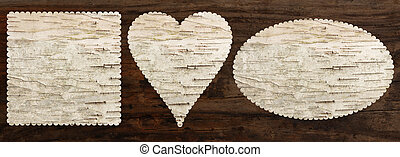 birch bark texture set, heart oval square shaped, top view,...