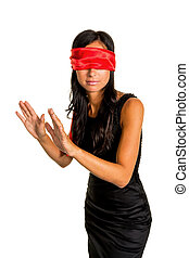 blindfolded woman - a young woman blindfold