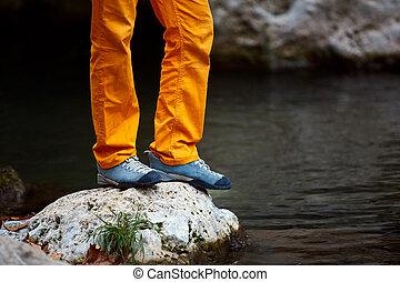 traveler  near the creek