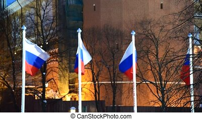 Russian flag on  background of the Kremlin in Moscow, Russia