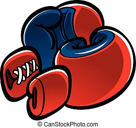 Boxing gloves - The pair of red and blue boxing gloves