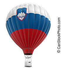 Hot Air Balloon with Slovene Flag. Image with clipping path