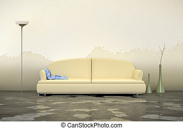 water damage - A 3d rendering of an interior water damage