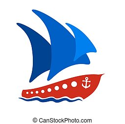 Ship with blue sails.