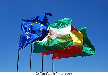 Spanish and European Union Flags - Four flags in a row...