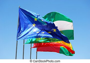 Spanish and European Union Flags. - Four flags in a row...