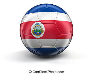 Soccer football with Costa Rican flag Image with clipping...