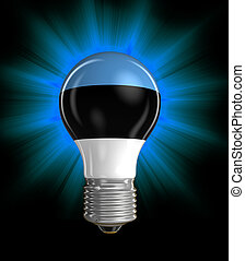 Light bulb with Estonian flag Image with clipping path