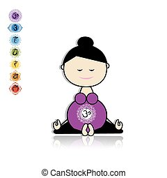 Pregnant yoga, woman in lotus pose for your design