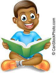 Cartoon Boy Reading Book - A cartoon little black boy...