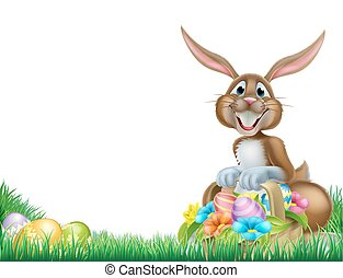 Cartoon Easter Egg Hunt Rabbit - Easter bunny with a basket...