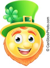 Leprechaun Emoji Emoticon - A cartoon St Patricks Day...
