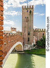 Scaliger Bridge (Castelvecchio Bridge) in Verona, Italy -...