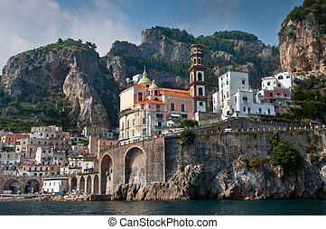 Amalfi Coast from the Sea, in Italy