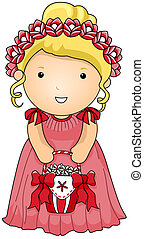 Flower Girl with Clipping Path