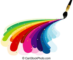 Painting Rainbow Colors with Clipping Path